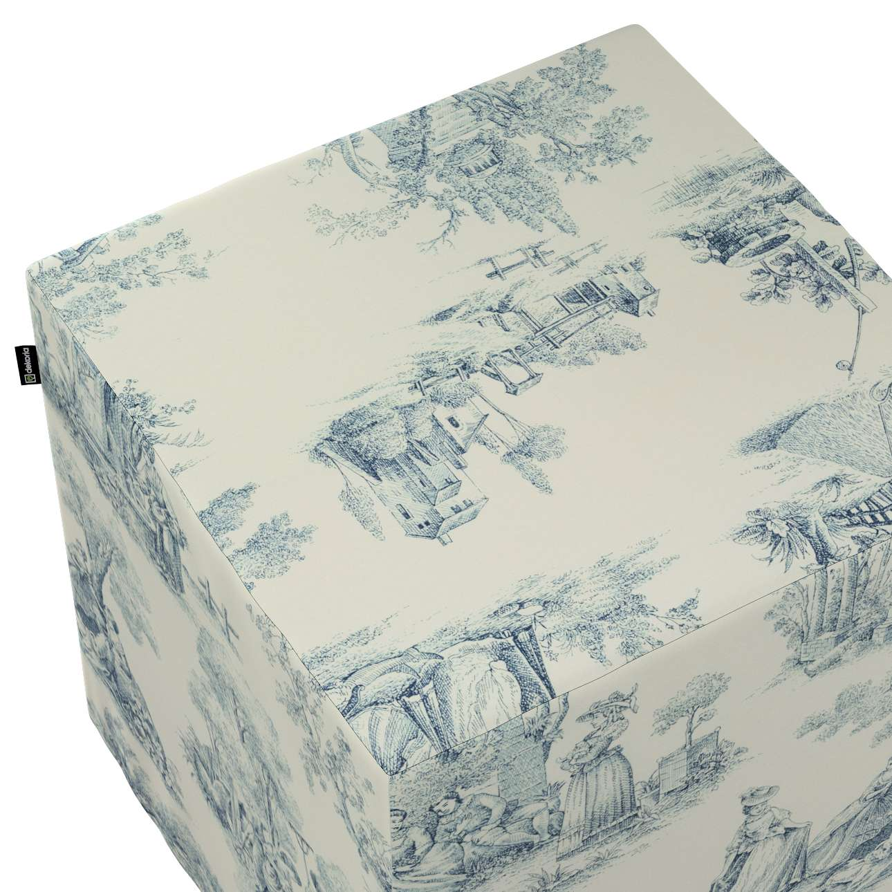 Pokrowiec na pufę kostkę w kolekcji Avinon, tkanina: 132-66