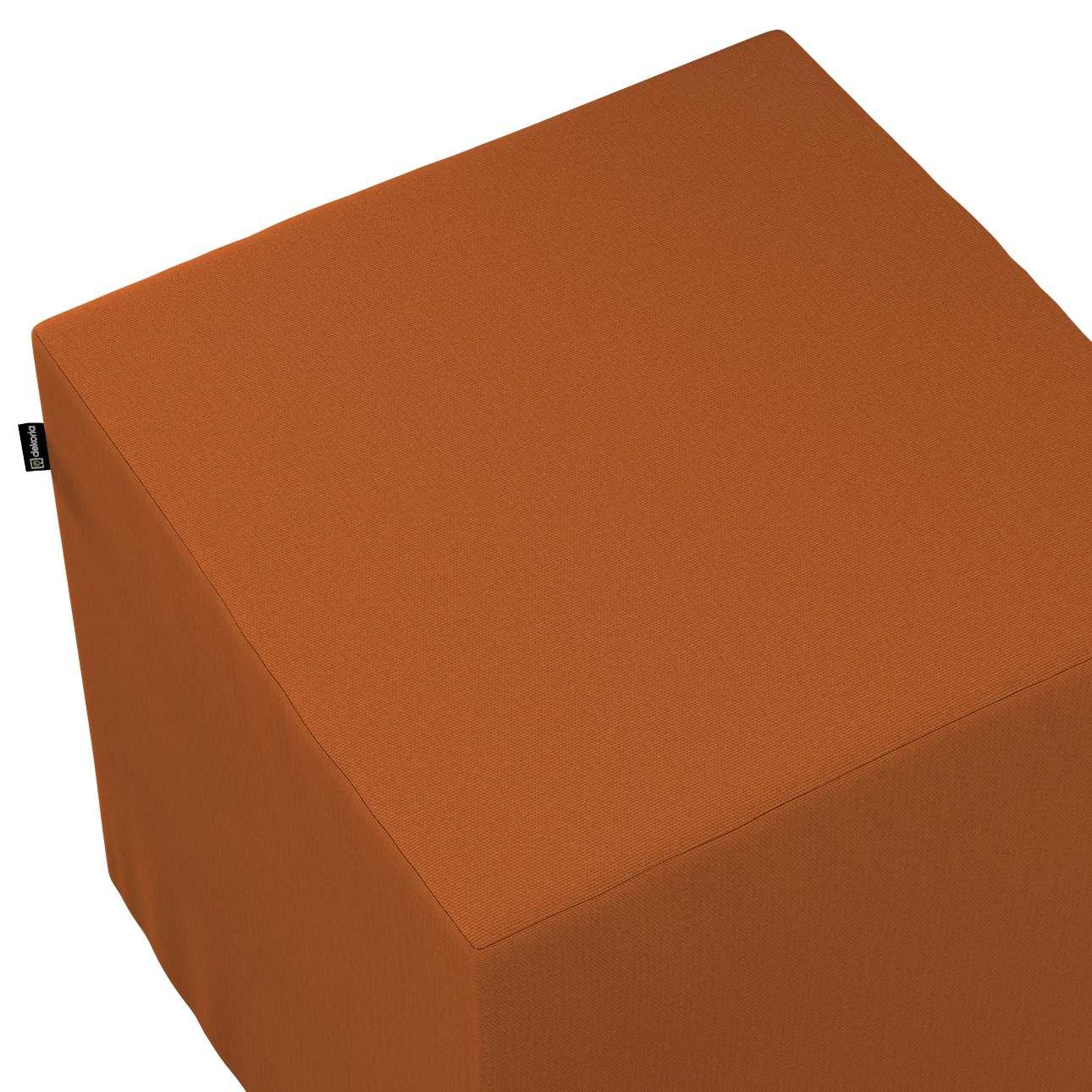 Pokrowiec na pufę kostkę w kolekcji Cotton Panama, tkanina: 702-42