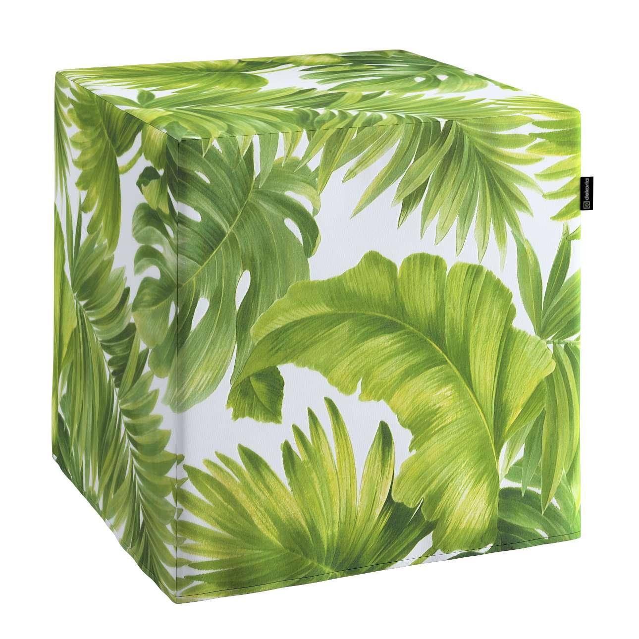 Pokrowiec na pufę kostkę w kolekcji Tropical Island, tkanina: 143-63