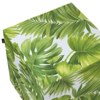 Bezug für Sitzwürfel 143-63 seledynowe liście na białym tle Kollektion Tropical Island