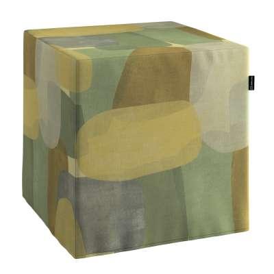 Pokrowiec na pufę kostkę 143-72 geometryczne wzory w zielono-brązowej kolorystyce Kolekcja Vintage 70's