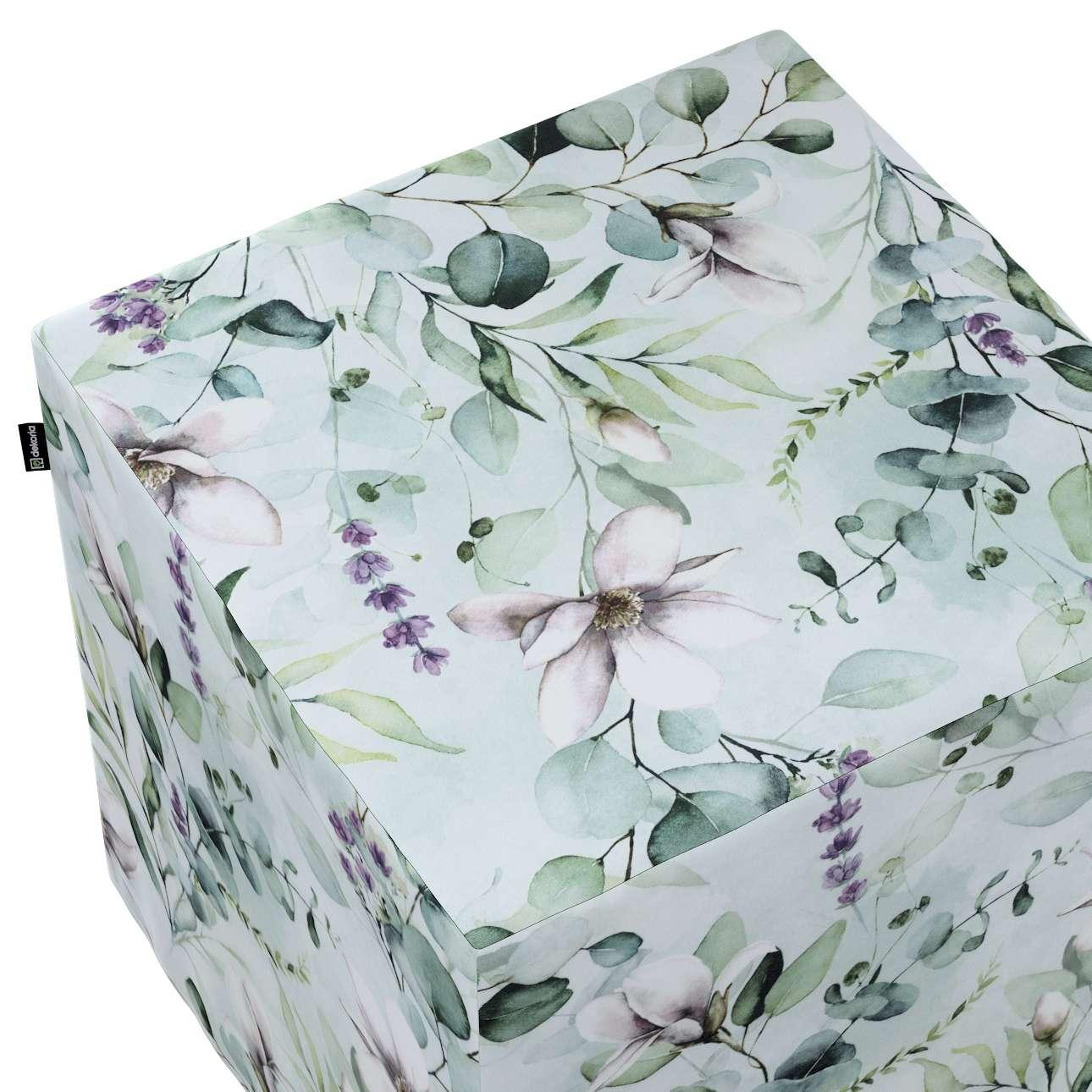 Bezug für Sitzwürfel von der Kollektion Flowers, Stoff: 143-66