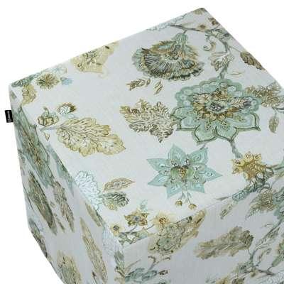 Pokrowiec na pufę kostkę 143-67 kwiaty na beżowo - szarym tle Kolekcja Flowers