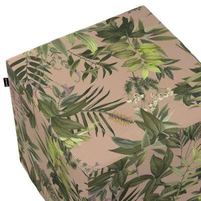 Pokrowiec na pufę kostkę 143-71 zielona roślinność na brudnoróżowym tle Kolekcja Tropical Island