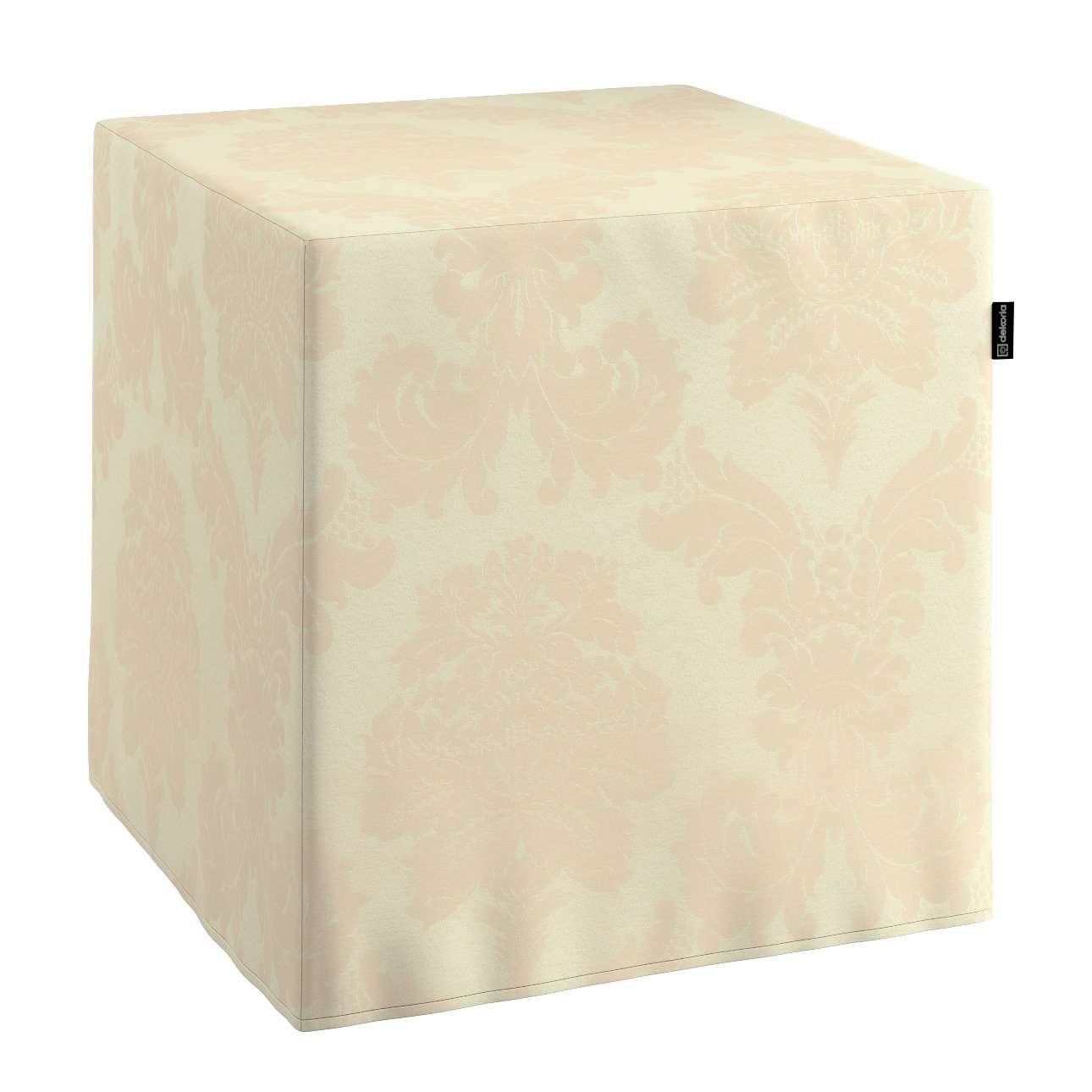 Pokrowiec na pufę kostke kostka 40x40x40 cm w kolekcji Damasco, tkanina: 613-01