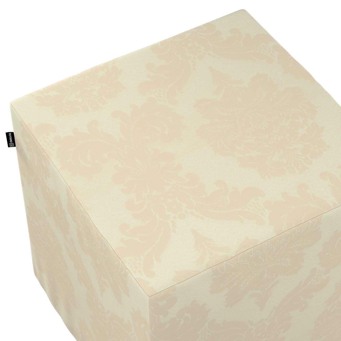 Pokrowiec na pufę kostkę w kolekcji Damasco, tkanina: 613-01