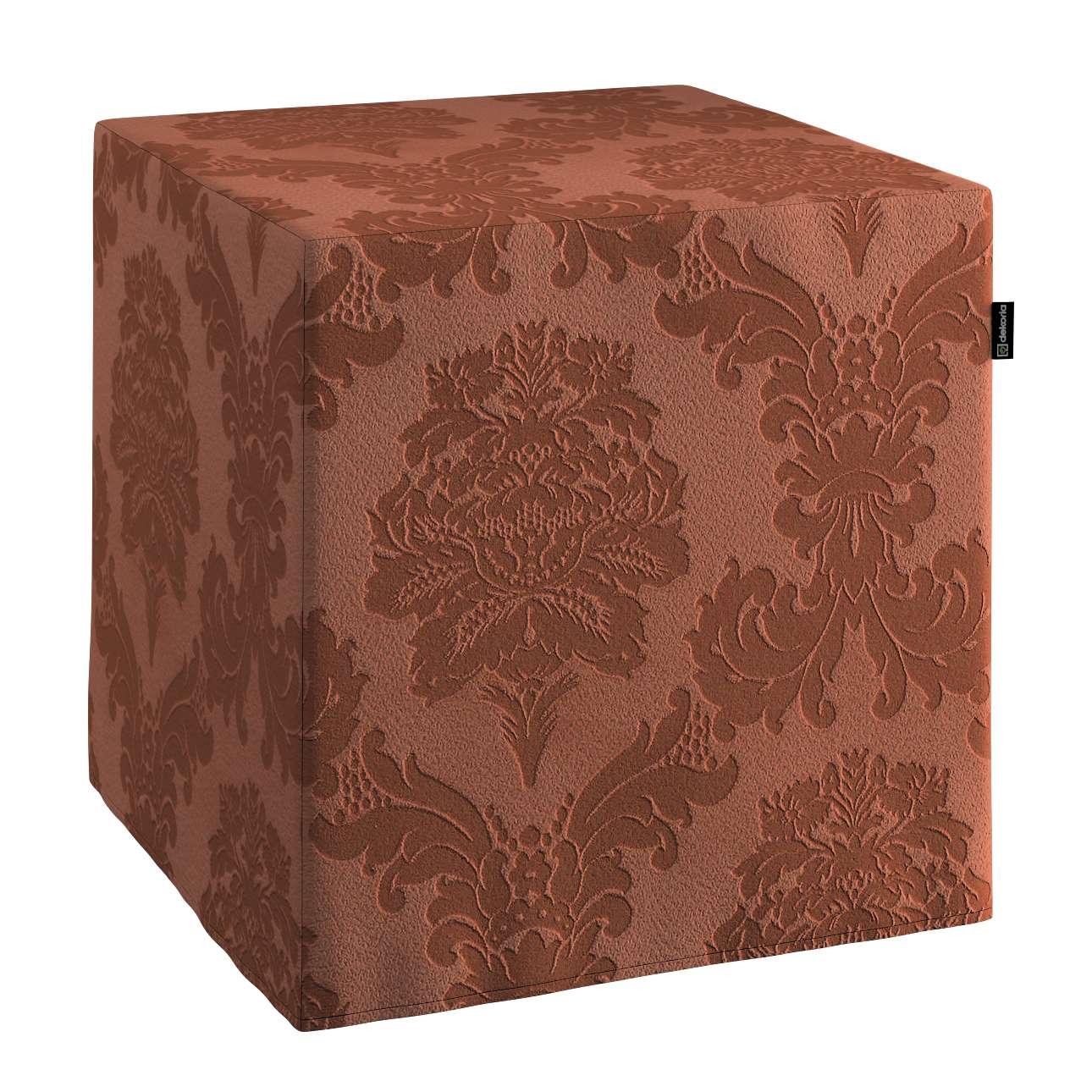 Pokrowiec na pufę kostke kostka 40x40x40 cm w kolekcji Damasco, tkanina: 613-88