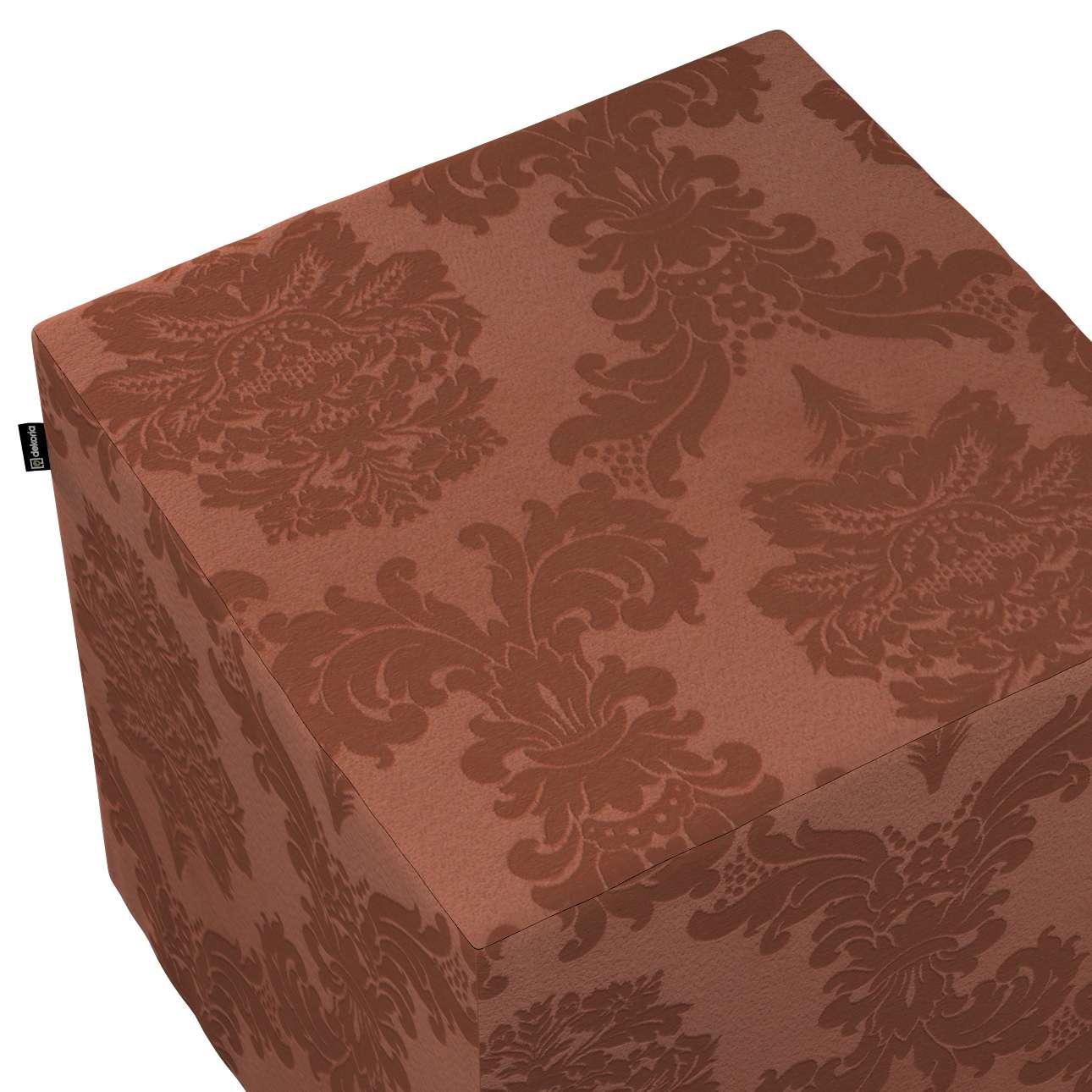 Pokrowiec na pufę kostkę w kolekcji Damasco, tkanina: 613-88