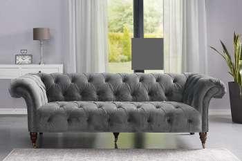 Sofa Chesterfield Glamour Velvet Dark Grey 3os.