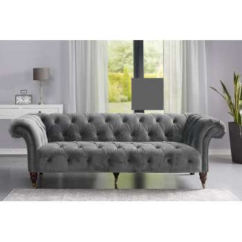Sofa Chesterfield Glamour Velvet Dark Grey 3os.