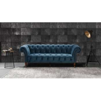 Sofa Chesterfield Glamour Velvet Midnight 3os.