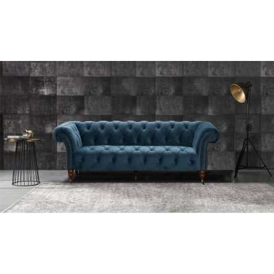 Sofa Chesterfield Glamour Velvet Midnight 3-os.