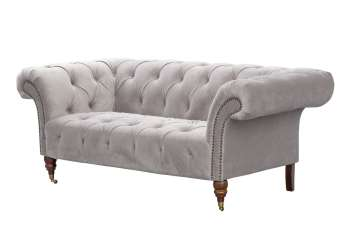 Sofa Chesterfield Glamour Velvet Light Grey 2-Sitzer