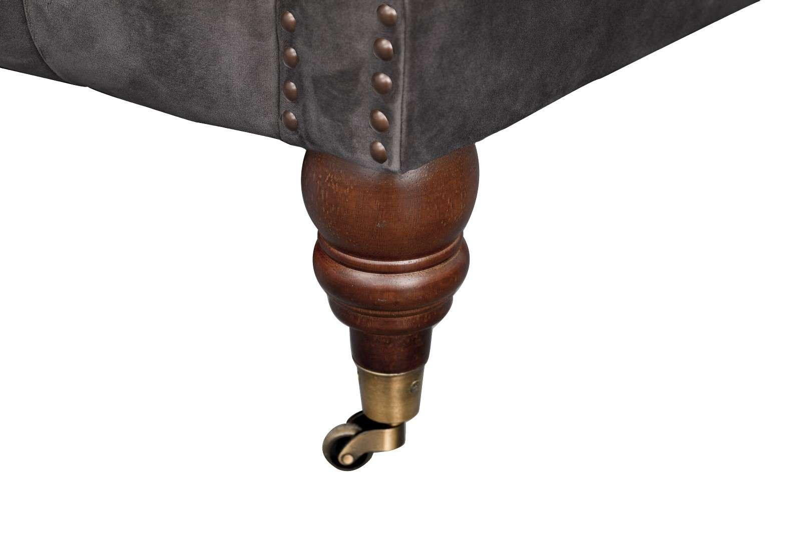 Sofa Chesterfield Glamour Velvet Dark Grey 2-Sitzer