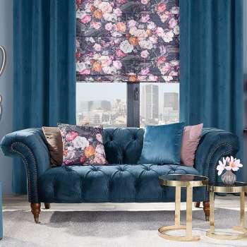 Sofa Chesterfield Glamour Velvet Midnight 2-Sitzer