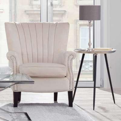 Fauteuil Scarlett Velvet Cream 78x83x101cm Engelse meubels - Dekoria.nl