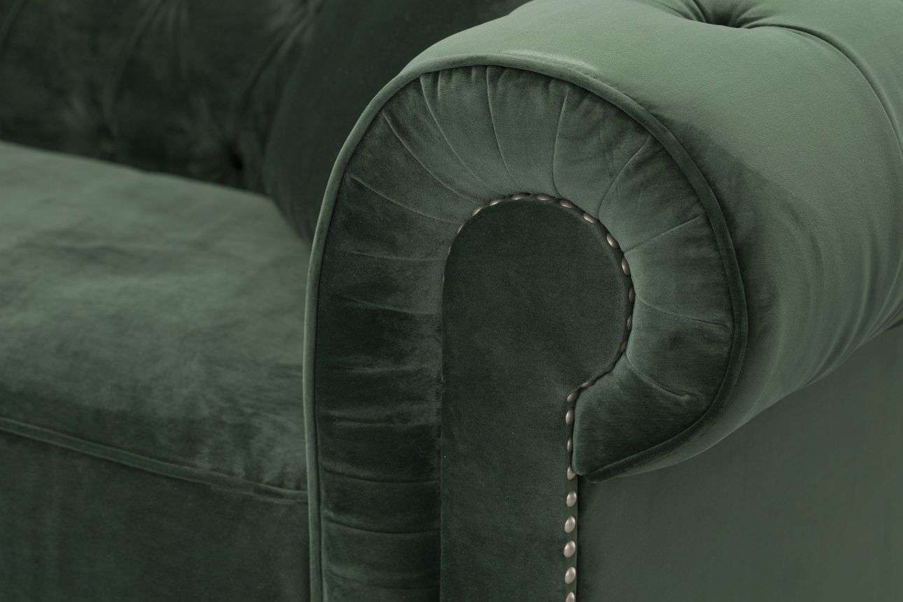 Sofa Chesterfield Classic Velvet Deep Forest 3os.  218x96x77cm