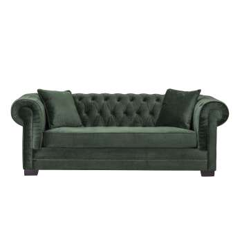 Sofa Chesterfield Classic Velvet Deep Forest 3-Sitzer