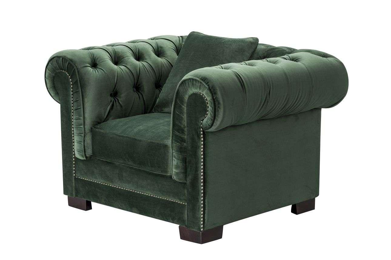 Fotel Chesterfield Classic Velvet Deep Forest 118x96x36cm