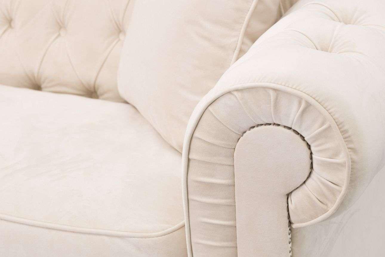 Sofa Chesterfield Classic Velvet Cream 3-os.