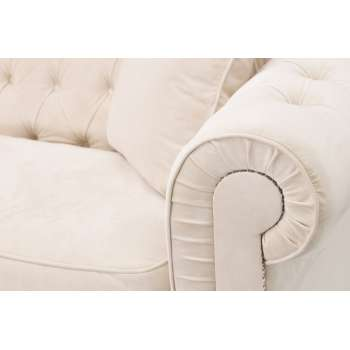 Sofa Chesterfield Classic Velvet Cream 3os.