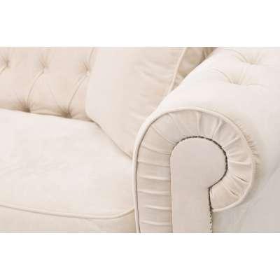 Sofa Classic Chesterfield Velvet Cream 3-Sitzer Englische Möbel - Dekoria.de