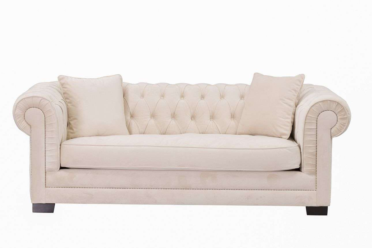 Sofa Classic Chesterfield Velvet Cream 3-Sitzer