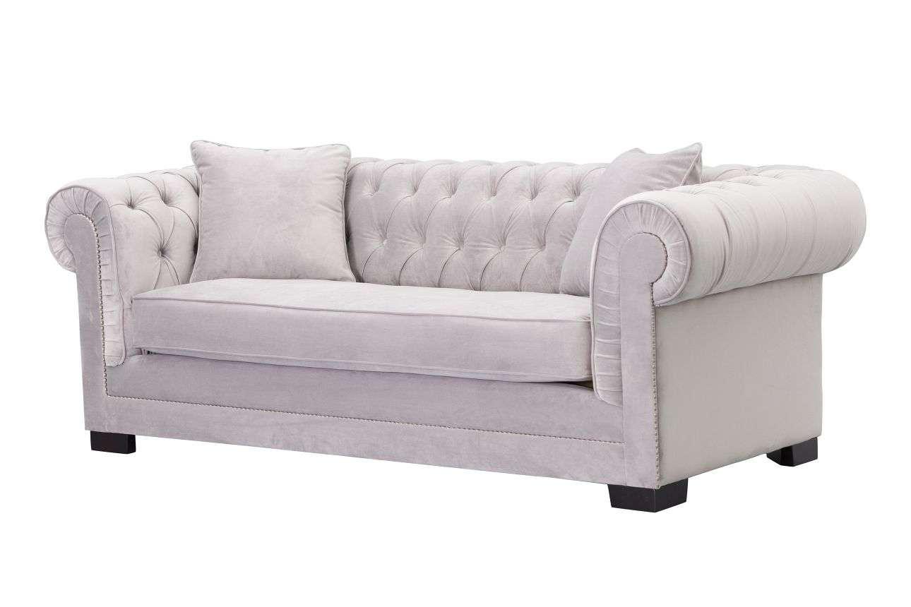 Sofa Chesterfield Classic Velvet Light Grey 3-Sitz