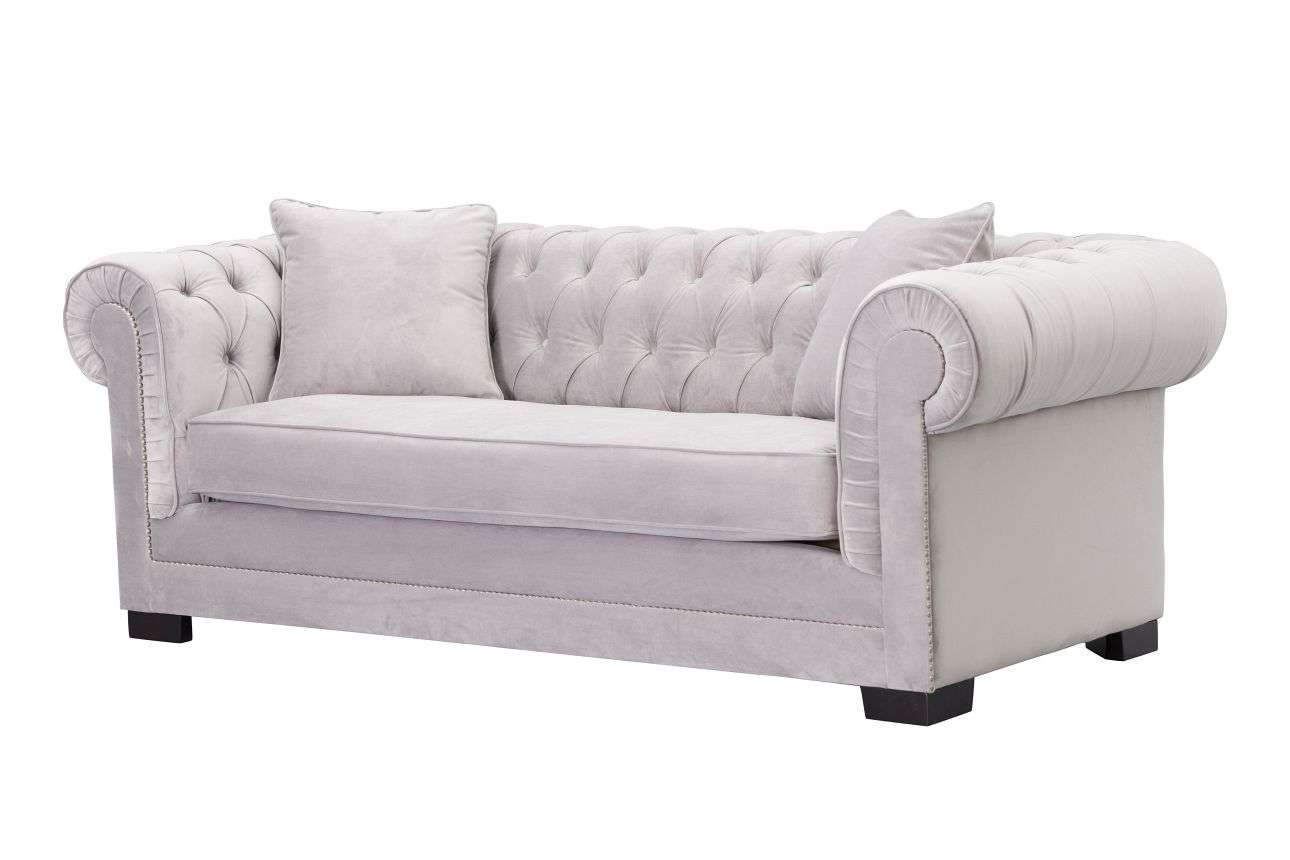 Sofa Chesterfield Classic Velvet Light Grey 3-Sitzer, 218x96x78cm