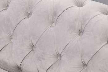 Sofa Chesterfield Classic Velvet Light Grey 3os.