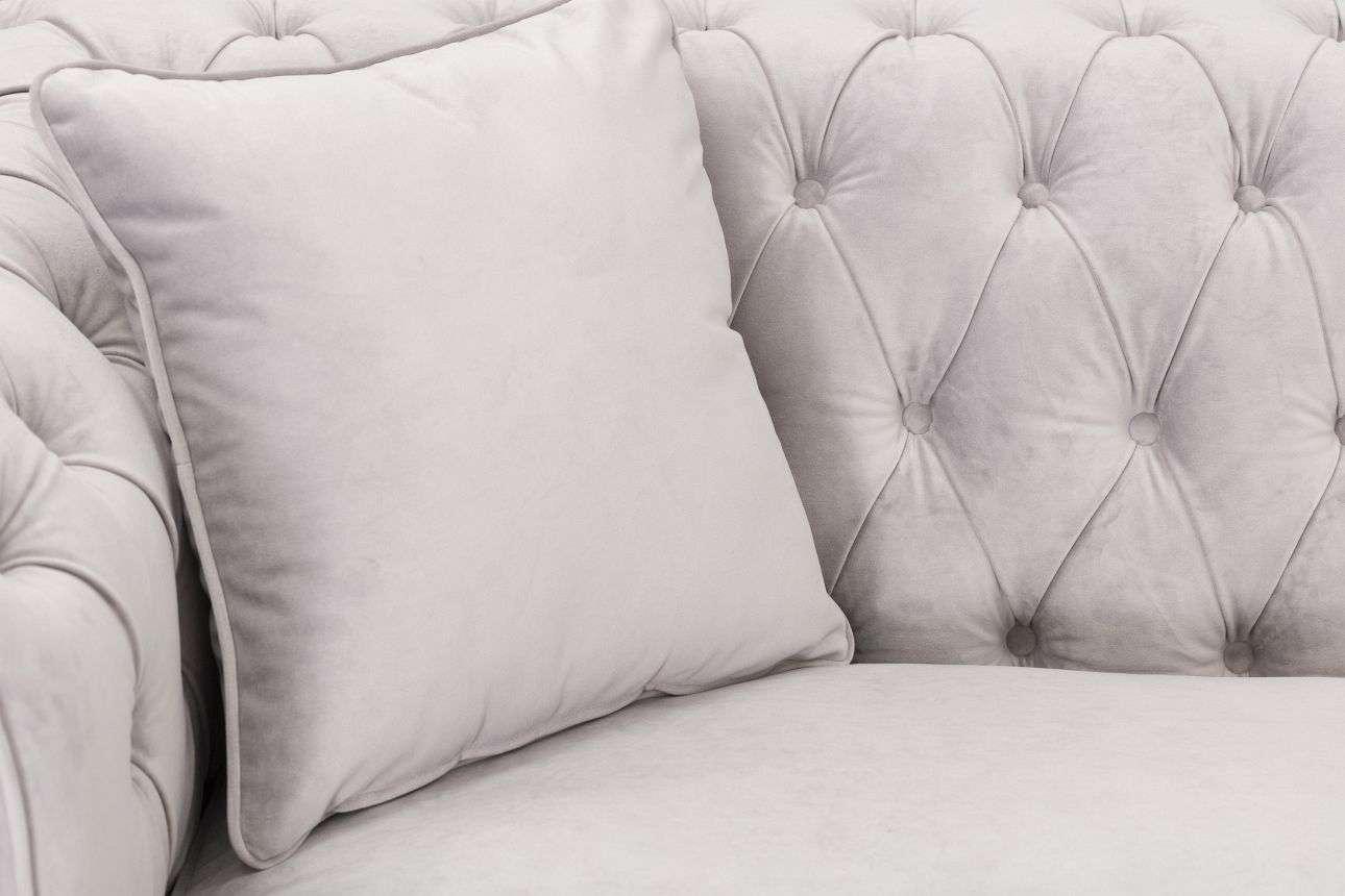 Sofa Chesterfield Classic Velvet Light Grey 3-Sitzer