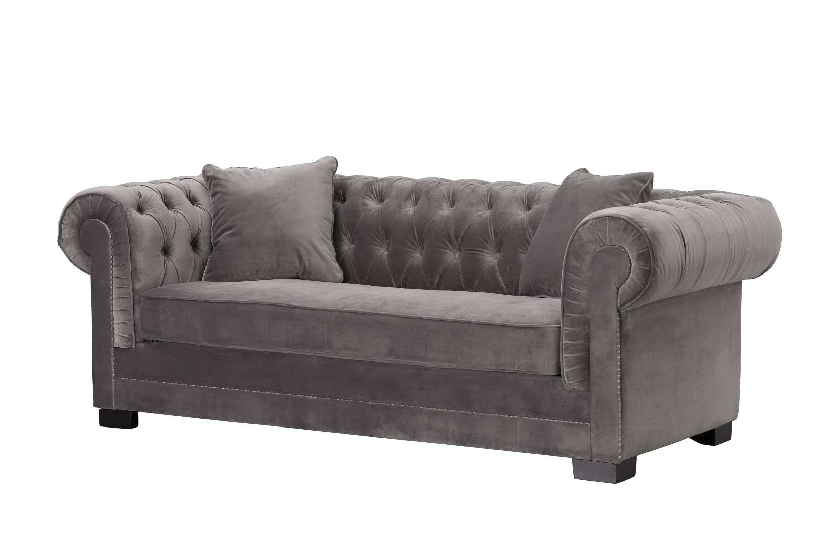 Dekoria Sofa Chesterfield Classic Velvet Dark Grey 3os.