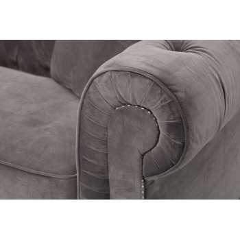 Sofa Chesterfield Classic Velvet Dark Grey 3-Sitzer 218x96x78cm