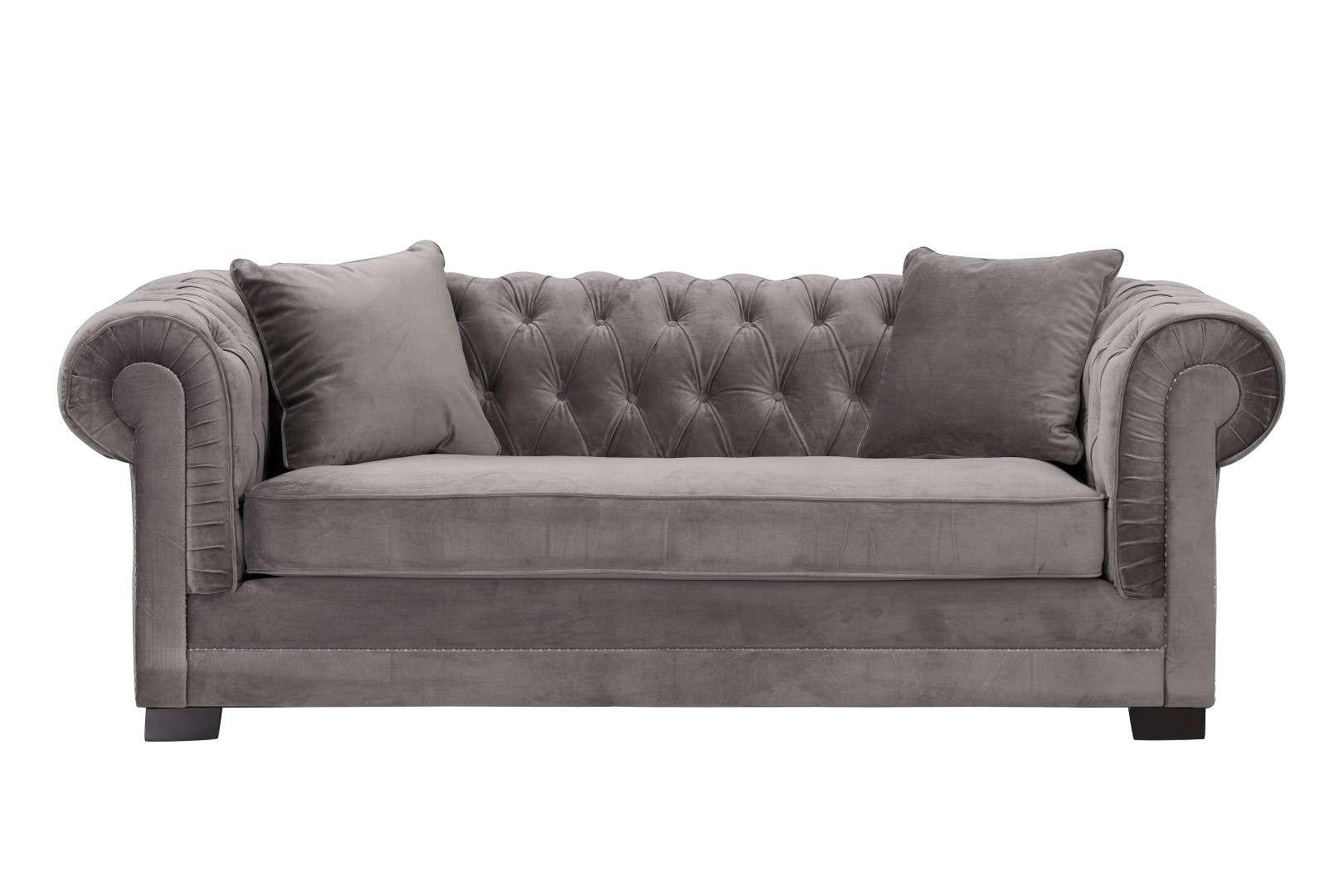 Sofa Chesterfield Classic Velvet Dark Grey 3-os.