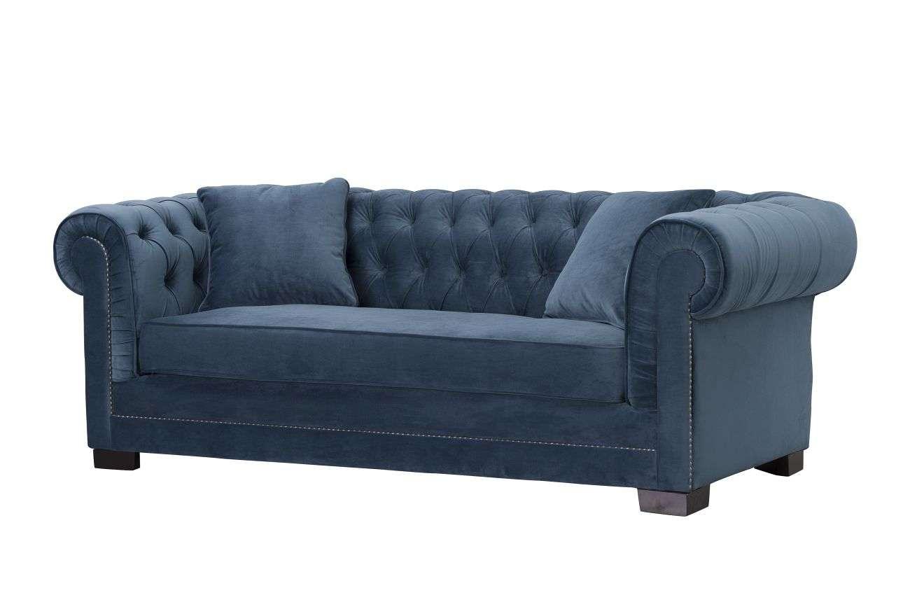 Sofa Chesterfield Classic Velvet Midnight 3-Sitzer, 218x96x78cm
