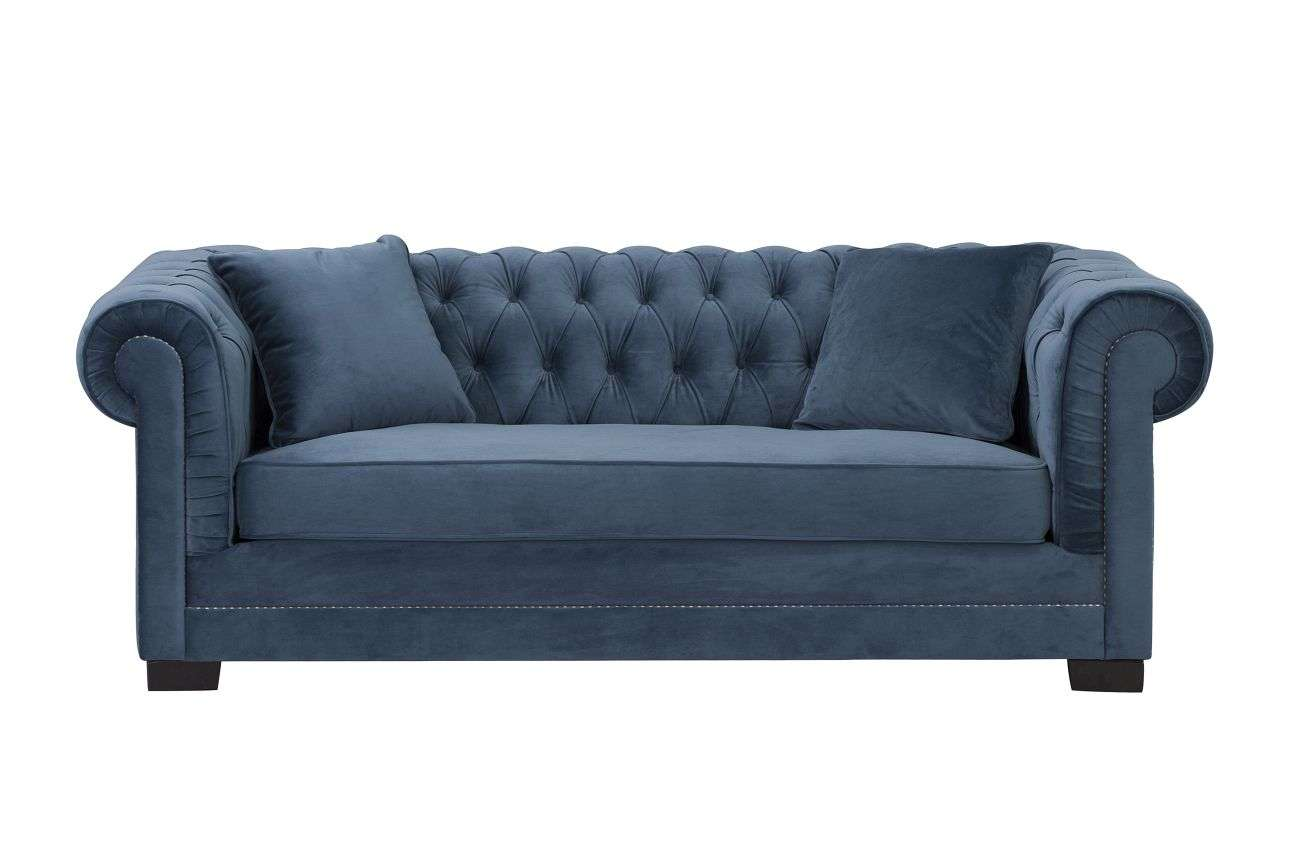 Sofa Chesterfield Classic Velvet Midnight 3 Sitzer