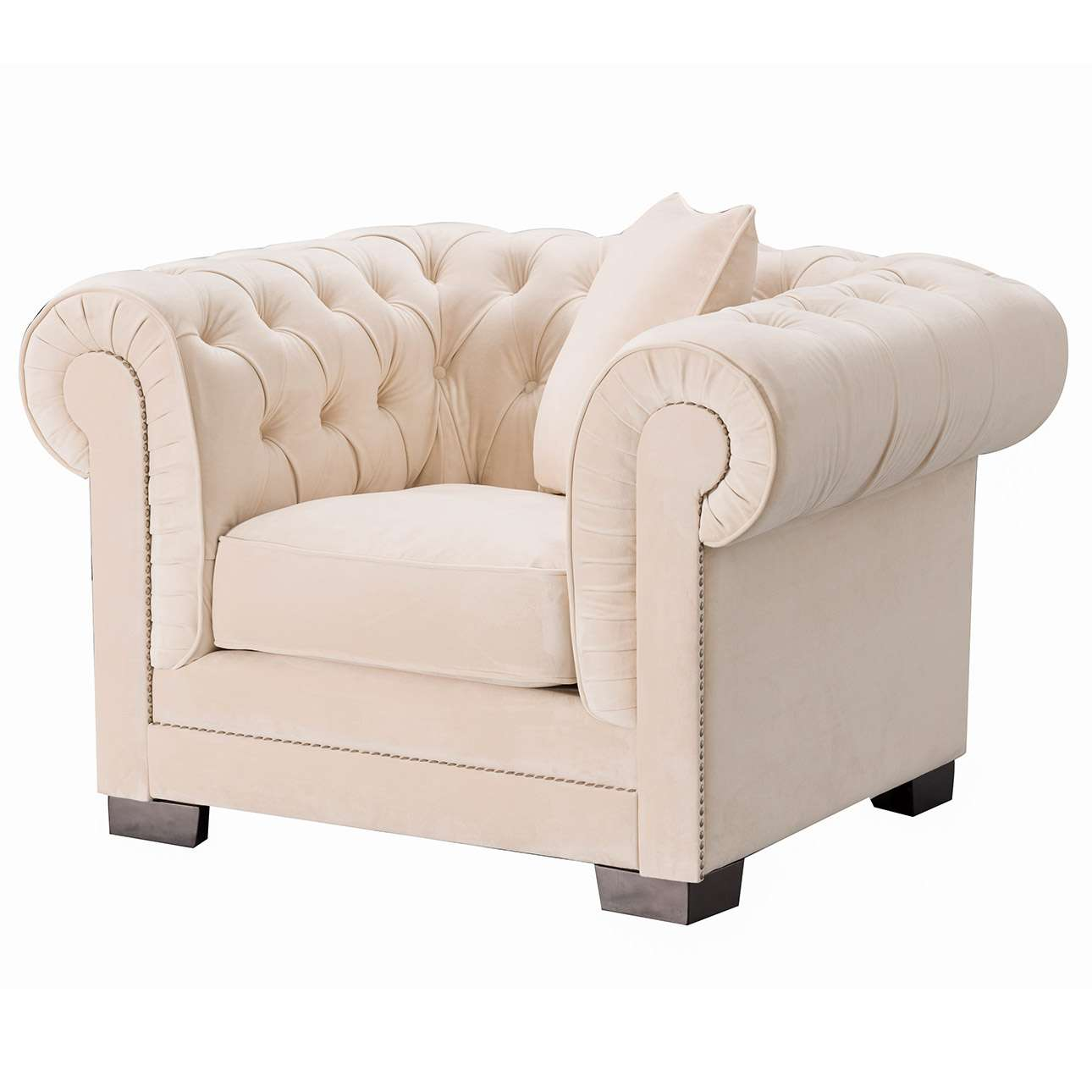 Fauteuil Chesterfield Classic Velvet Cream