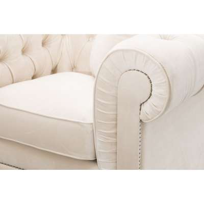 Fotel Chesterfield Classic Velvet Cream 118x96x77cm