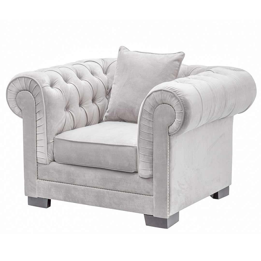 Dekoria Fotel Chesterfield Classic Velvet Light Grey 118x96x77cm