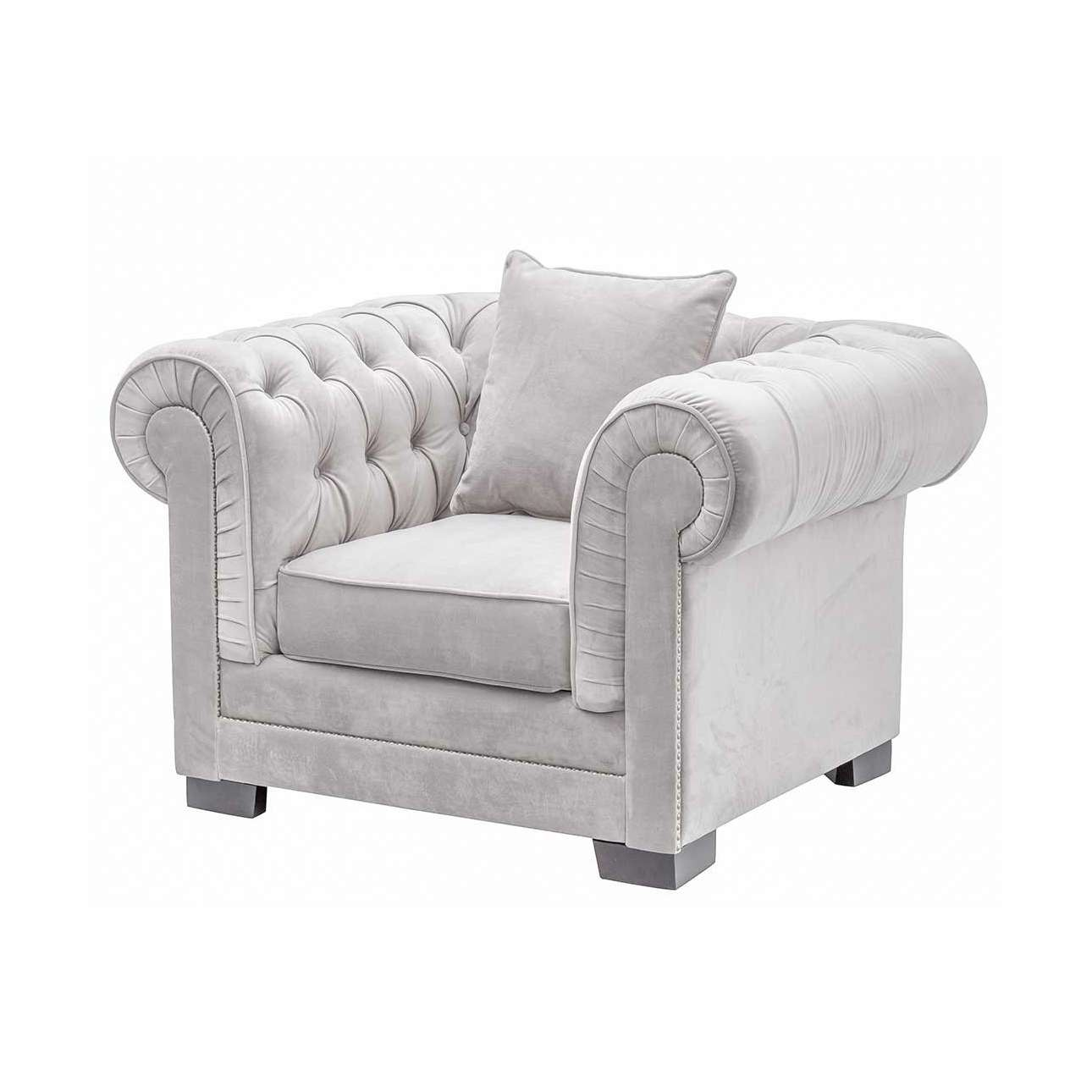 Křeslo Chesterfield Classic Velvet Light Grey 118x96x77cm