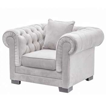 Sessel Chesterfield Classic Velvet Light Grey