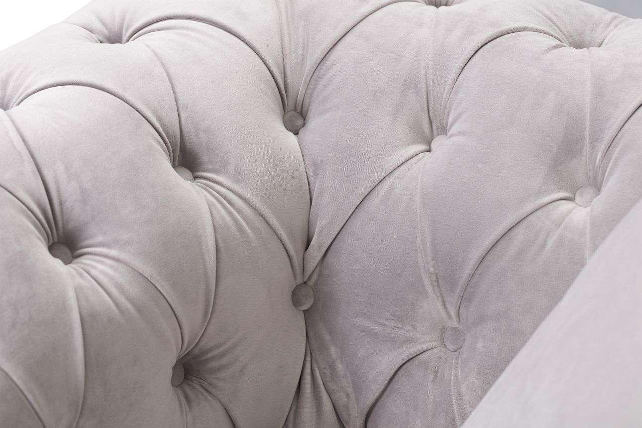 Sessel Chesterfield Classic Velvet Light Grey