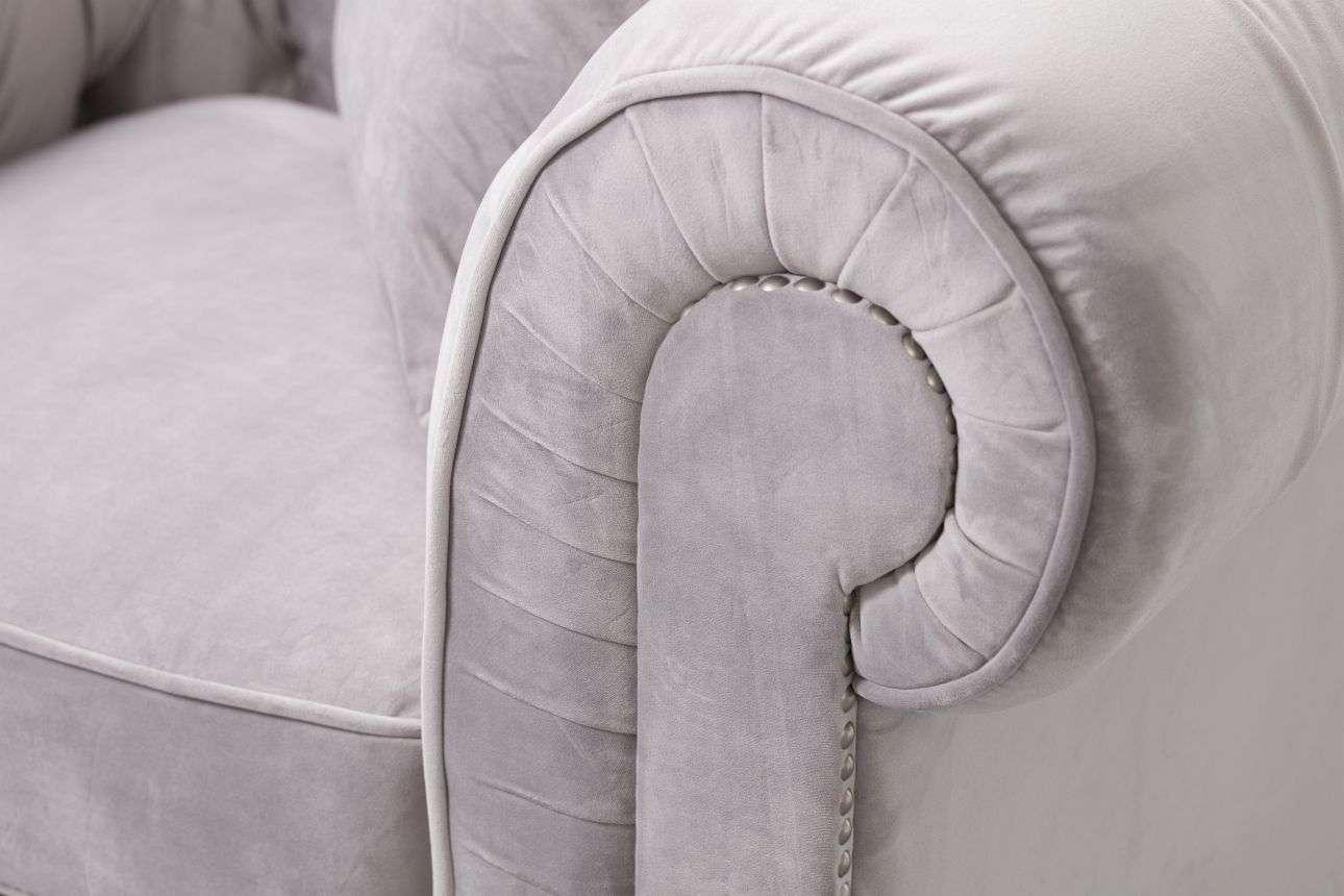 Sessel Chesterfield Classic Velvet Light Grey  118x96x77cm