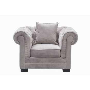 Fotel Chesterfield Classic Velvet Light Grey 118x96x77cm