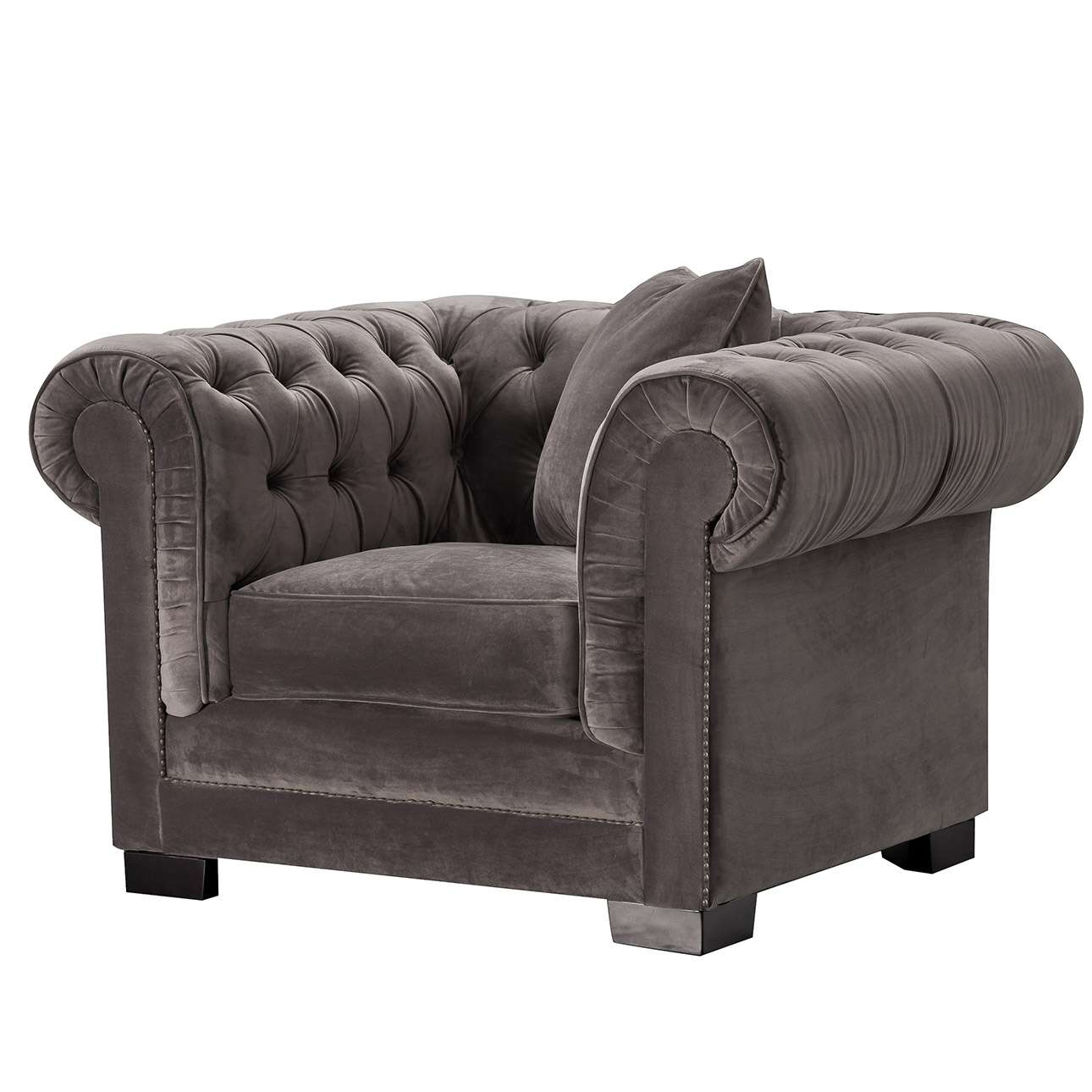Sessel Chesterfield Classic Velvet Dark Grey