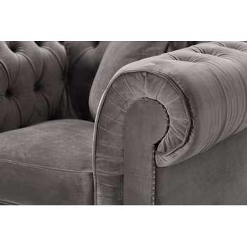 Fotel Chesterfield Classic Velvet Dark Grey 118x96x77cm