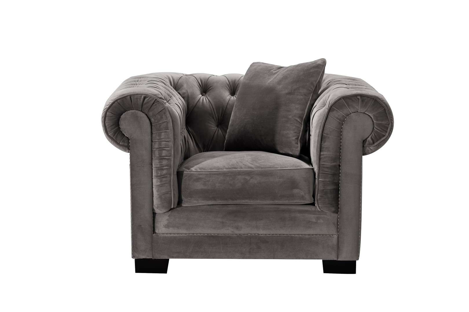 Fotel Chesterfield Classic Velvet Dark Grey 118x96x77cm 118x96x77cm
