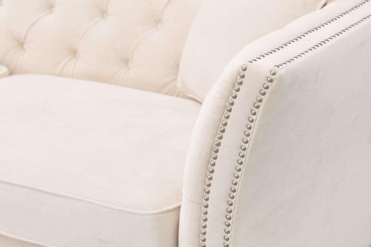 Sofa Chesterfield Modern Velvet Cream 3-os.