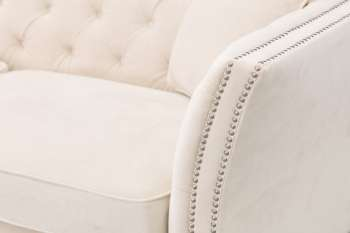 Sofa Chesterfield Modern Velvet Cream 3-Sitzer