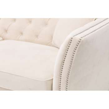 Sofa Chesterfield Modern Velvet Cream 3os.